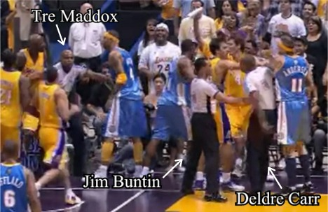 Tre, Jim, and Deldre get break up a scuffle between the Nuggets and Lakers on ESPN